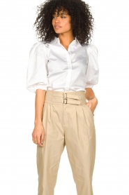 Notes Du Nord |  Strech blouse with puff sleeves Kira | white  | Picture 2