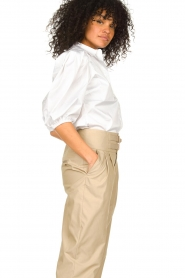 Notes Du Nord |  Strech blouse with puff sleeves Kira | white  | Picture 5