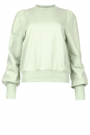 Notes Du Nord |  Cotton sweater with puff sleeves Oxford | green  | Picture 1