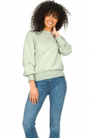 Notes Du Nord |  Cotton sweater with puff sleeves Oxford | green  | Picture 2