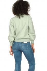 Notes Du Nord |  Cotton sweater with puff sleeves Oxford | green  | Picture 6