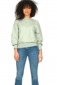 Notes Du Nord |  Cotton sweater with puff sleeves Oxford | green  | Picture 4