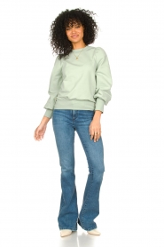 Notes Du Nord |  Cotton sweater with puff sleeves Oxford | green  | Picture 3