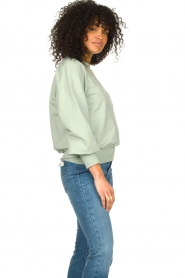 Notes Du Nord |  Cotton sweater with puff sleeves Oxford | green  | Picture 5