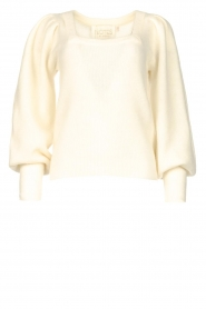 Notes Du Nord |  Knitted sweater with puf sleeves Tori | white  | Picture 1
