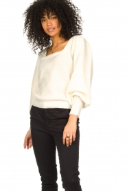 Notes Du Nord |  Knitted sweater with puf sleeves Tori | white  | Picture 2