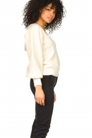 Notes Du Nord |  Knitted sweater with puf sleeves Tori | white  | Picture 5