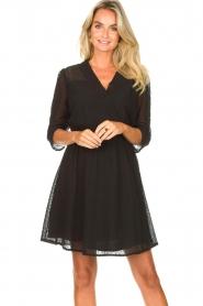 Aaiko |  Open work dress Yaelle | black  | Picture 2