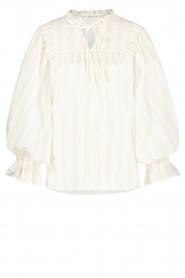 Aaiko |  Striped blouse Carella | white  | Picture 1