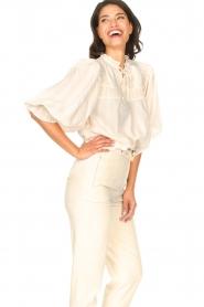 Aaiko |  Striped blouse Carella | white  | Picture 6