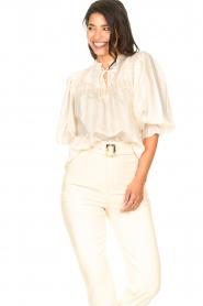 Aaiko |  Striped blouse Carella | white  | Picture 4