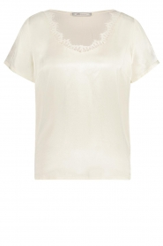 Aaiko |  Top with lace v-neck Veerne | natural  | Picture 1