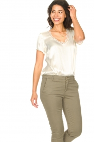 Aaiko |  Top with lace v-neck Veerne | natural  | Picture 2