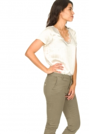 Aaiko |  Top with lace v-neck Veerne | natural  | Picture 4