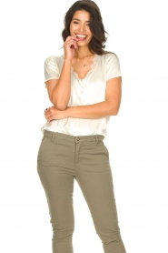 Aaiko |  Top with lace v-neck Veerne | natural  | Picture 3
