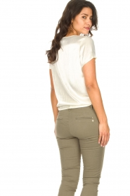 Aaiko |  Top with lace v-neck Veerne | natural  | Picture 5