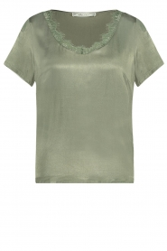 Aaiko |  Top with lace v-neck Veerne | green  | Picture 1