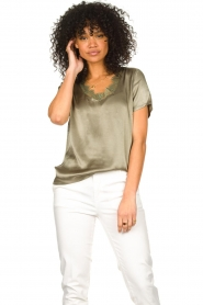 Aaiko |  Top with lace v-neck Veerne | green  | Picture 4