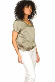Aaiko |  Top with lace v-neck Veerne | green  | Picture 5