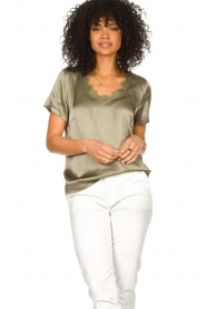 Aaiko |  Top with lace v-neck Veerne | green  | Picture 2