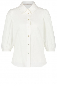 Aaiko |  Cotton blouse with puff sleeves Pien | white  | Picture 1