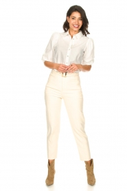 Aaiko |  Cotton blouse with puff sleeves Pien | white  | Picture 3