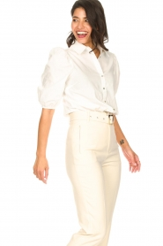 Aaiko |  Cotton blouse with puff sleeves Pien | white  | Picture 5