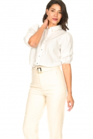 Aaiko |  Cotton blouse with puff sleeves Pien | white  | Picture 4
