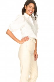 Aaiko |  Cotton blouse with puff sleeves Pien | white  | Picture 6