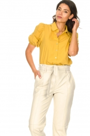 Aaiko |  Blouse with puff sleeves Pien | yellow  | Picture 5