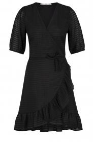 Aaiko |  Striped wrap dress Briggit | black  | Picture 1