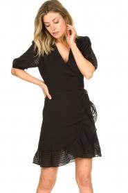 Aaiko |  Striped wrap dress Briggit | black  | Picture 4