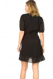 Aaiko |  Striped wrap dress Briggit | black  | Picture 9