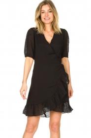 Aaiko |  Striped wrap dress Briggit | black  | Picture 2