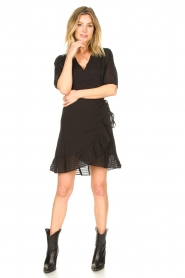 Aaiko |  Striped wrap dress Briggit | black  | Picture 3