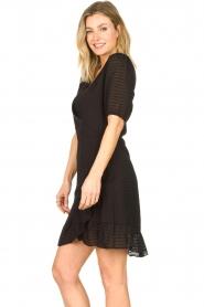 Aaiko |  Striped wrap dress Briggit | black  | Picture 7