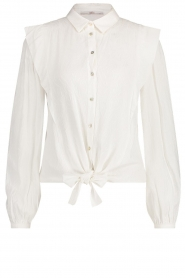Aaiko |  Tie blouse with embroidery details Cadence | white  | Picture 1