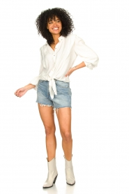 Aaiko |  Tie blouse with embroidery details Cadence | white  | Picture 3