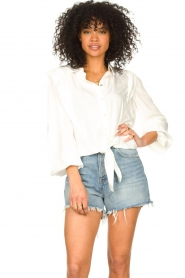 Aaiko |  Tie blouse with embroidery details Cadence | white  | Picture 2