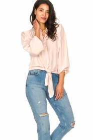 Aaiko |  Tie blouse with embroidery details Cadence | pink  | Picture 2