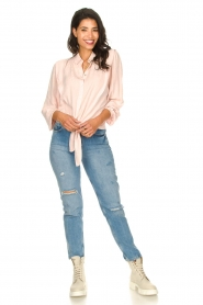 Aaiko |  Tie blouse with embroidery details Cadence | pink  | Picture 3