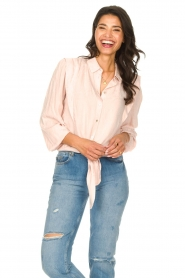 Aaiko |  Tie blouse with embroidery details Cadence | pink  | Picture 5