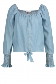 Aaiko |  Smocked tie blouse Tasmin | blue  | Picture 1