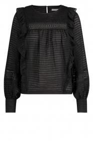 Aaiko | Gestreepte blouse met opengewerkte details Zena | zwart   | Afbeelding 1