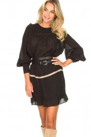 Aaiko | Gestreepte blouse met opengewerkte details Zena | zwart   | Afbeelding 4