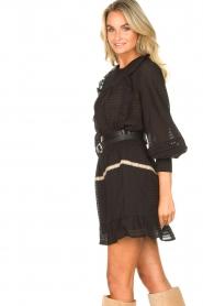 Aaiko | Gestreepte blouse met opengewerkte details Zena | zwart   | Afbeelding 5