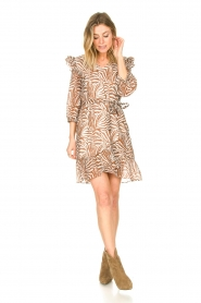 Aaiko |  Dress with animal print Valenthe | brown  | Picture 3