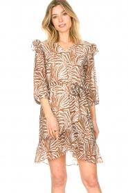 Aaiko | Zebraprint jurk Valenthe | bruin   | Afbeelding 2