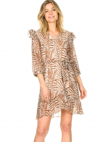 Aaiko |  Dress with animal print Valenthe | brown  | Picture 4