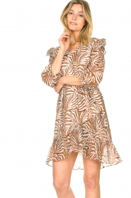 Aaiko | Zebraprint jurk Valenthe | bruin   | Afbeelding 5